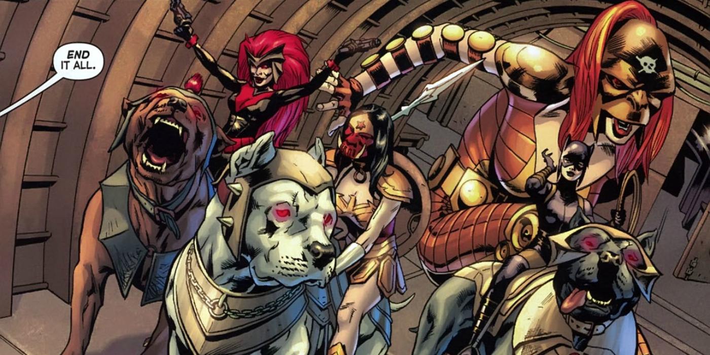 Batwoman, Wonder Woman, Giganta and Catwoman as Female Furies