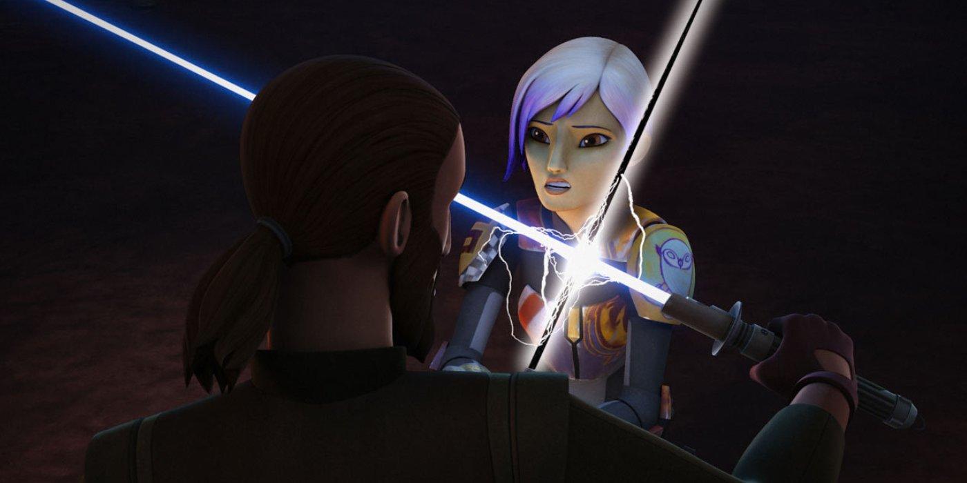 Sabine battles Kanan with Darksaber in Star Wars Rebels