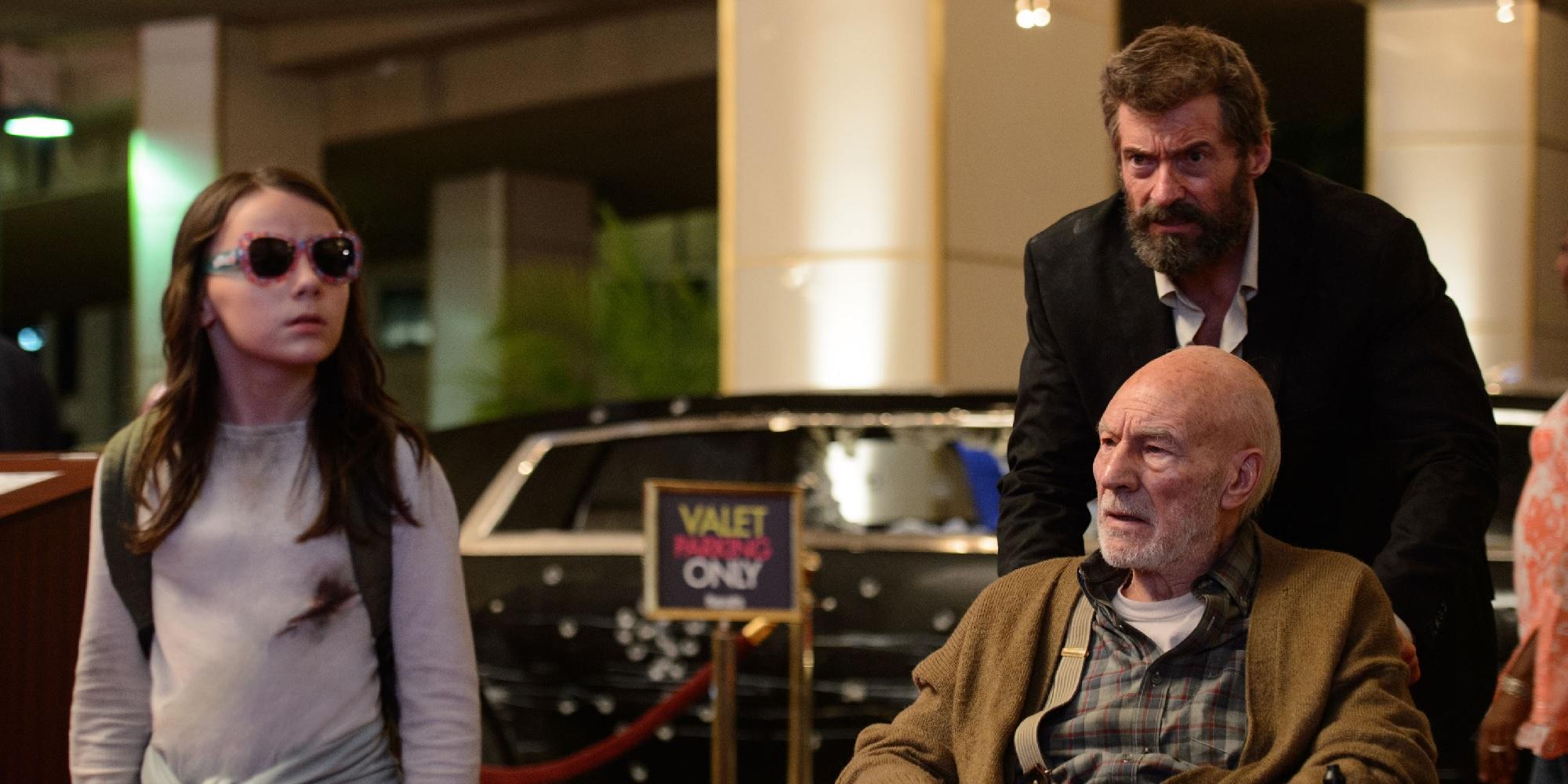 "Dafne Keen as Laura, Sir Patrick Stewart as Charles Xavier and Hugh Jackman as Logan in ""Logan"""