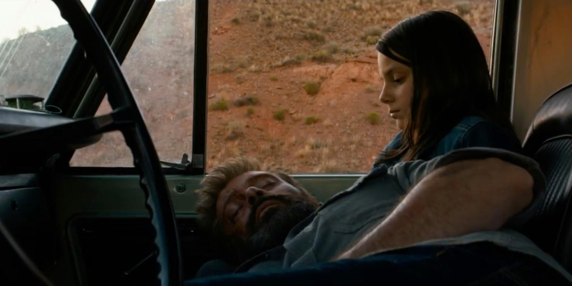 "Hugh Jackman as Logan and Dafne Keen as Laura in ""Logan"""