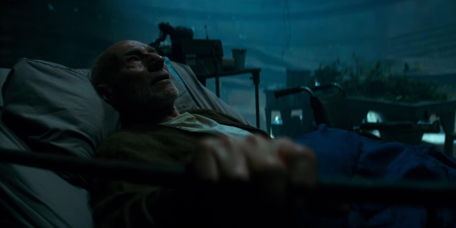 """Patrick Stewart as Charles Xavier in confinement in """"Logan"""""""