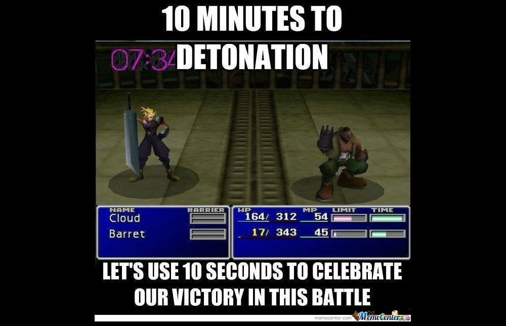 A screen shot of the Final Fantasy VII Victory Screen