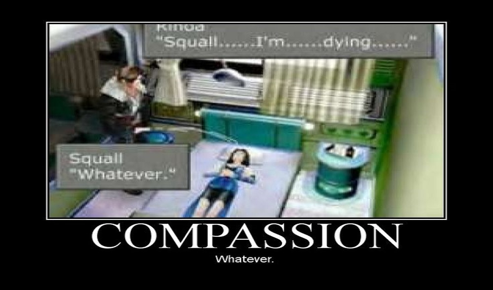 A screenshot from Final Fantasy VIII styled as a motivational poster