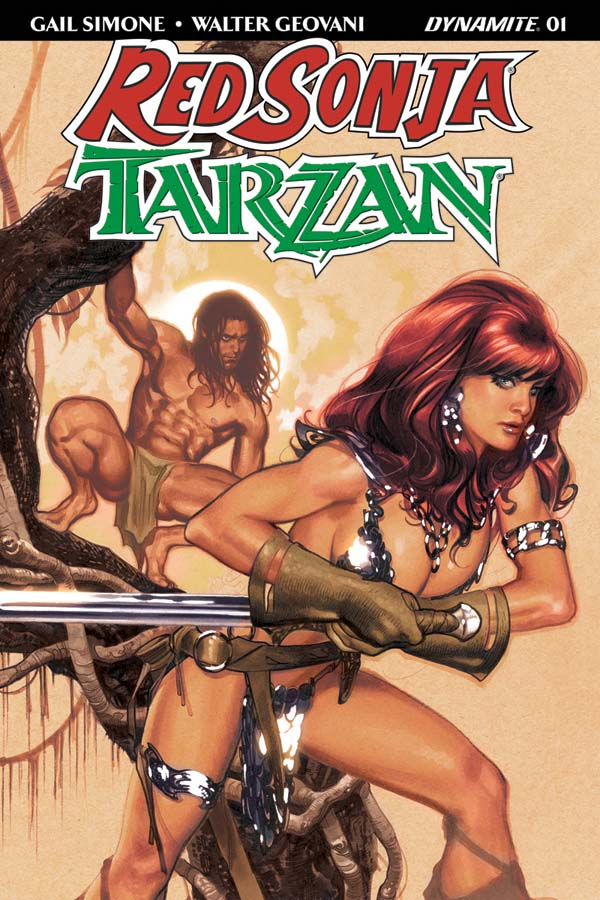 Red Sonja / Tarzan #1 cover by Adam Hughes