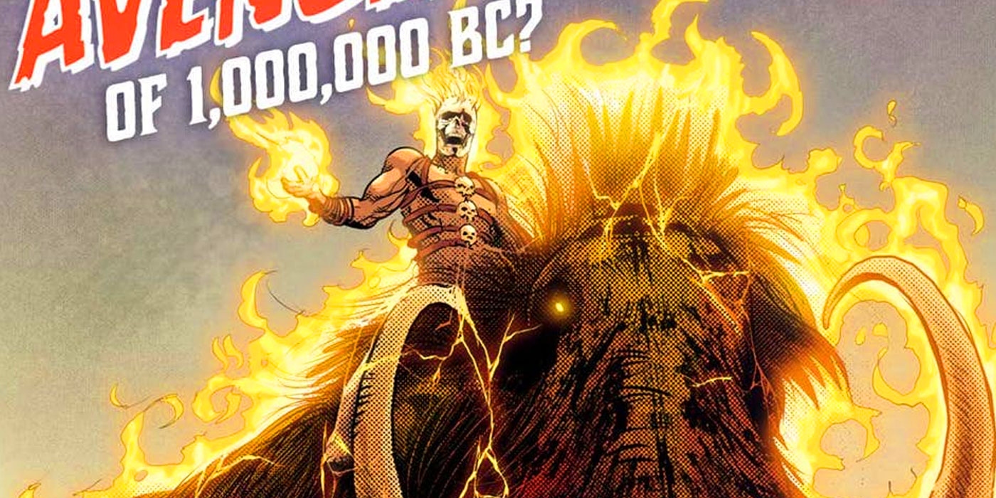 ghost rider of 1,000,000 bc origin story in avengers #7