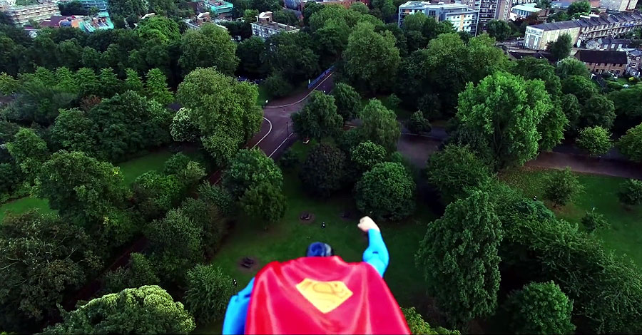 Superman action figure takes flight in terrific drone video